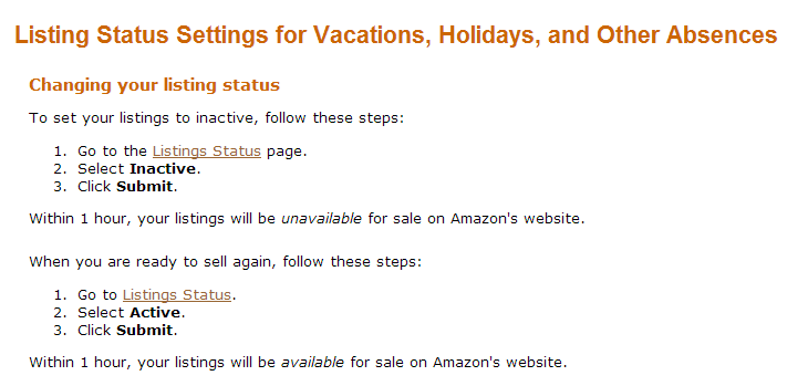 Change listing status settings on amazon for vacations, holidays and other absences