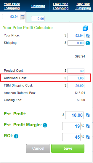 Add Additional Cost Field
