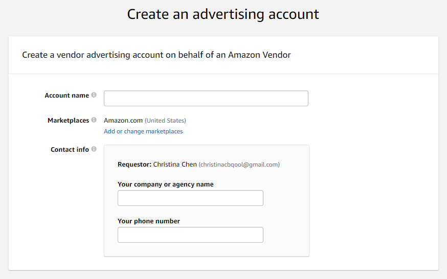 Create an advertising account